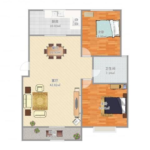 汤巷馨村2室1厅1卫1厨119.00㎡户型图