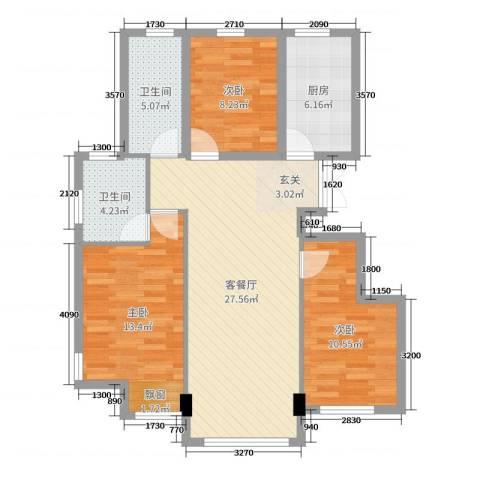 盛和翰林华府3室2厅2卫1厨94.00㎡户型图