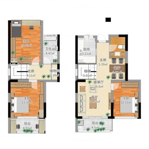 华润城立方3室2厅1卫1厨119.00㎡户型图