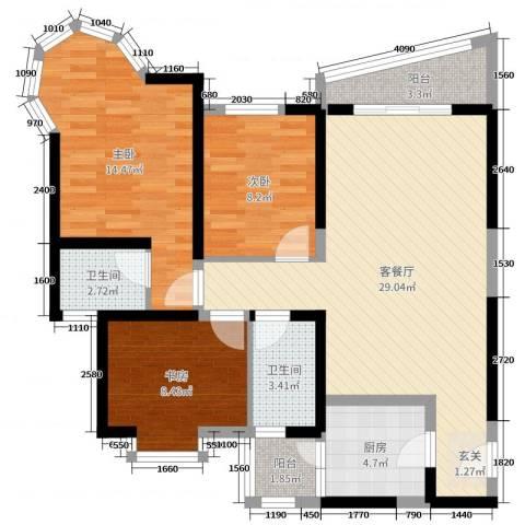 凯信水韵滨江二期公园大帝3室2厅2卫1厨117.00㎡户型图