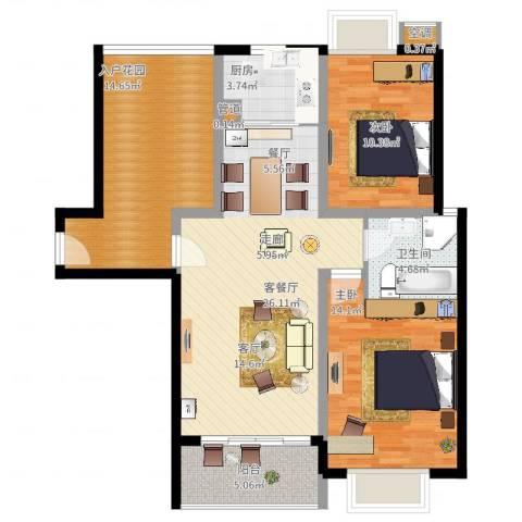 国际花都蓝蝶苑2室2厅1卫1厨113.00㎡户型图
