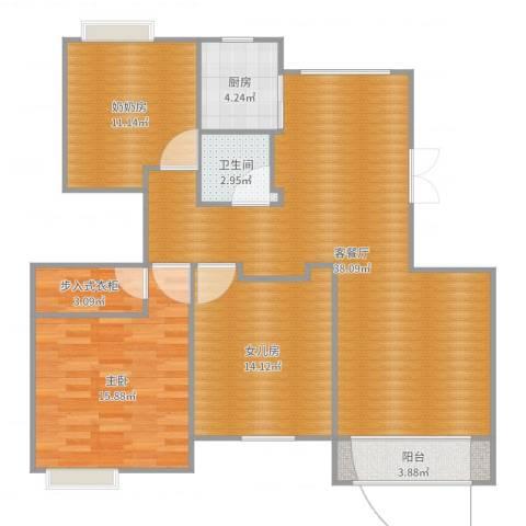 金色水岸简欧1室2厅1卫1厨117.00㎡户型图