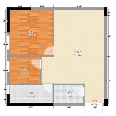首府尚苑2室2厅1卫1厨91.00㎡户型图