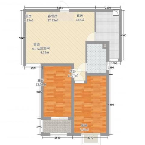缇香美地2室2厅1卫1厨95.00㎡户型图