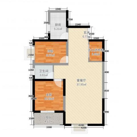 首府尚苑2室2厅1卫1厨97.00㎡户型图