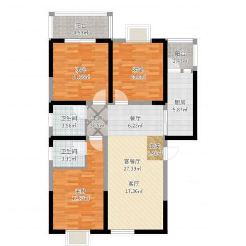 颐和郡3室2厅2卫1厨103.00㎡户型图