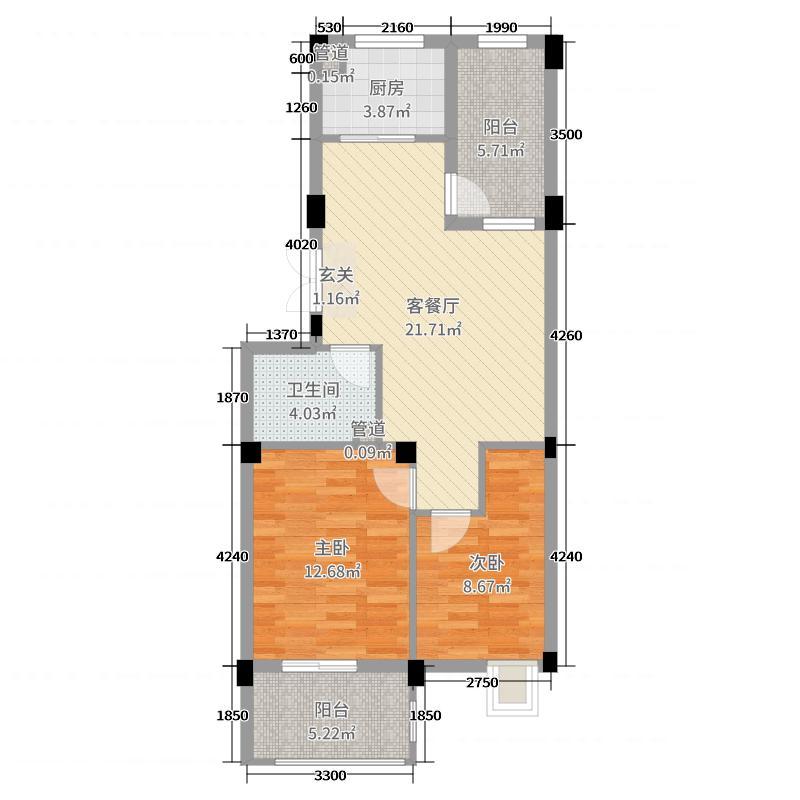 蔚海新天地77.30㎡二期多层LD3户型2室2厅1卫1厨