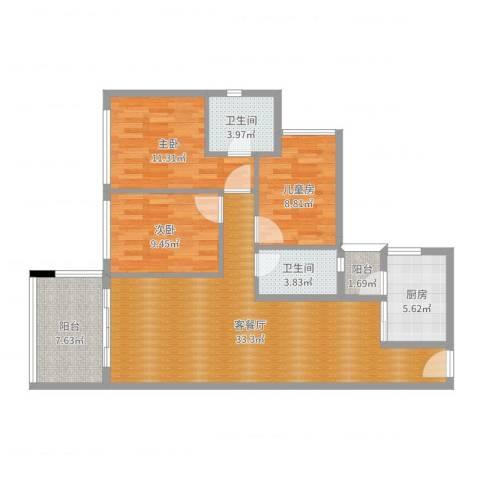 富和名都3室2厅2卫1厨85.60㎡户型图