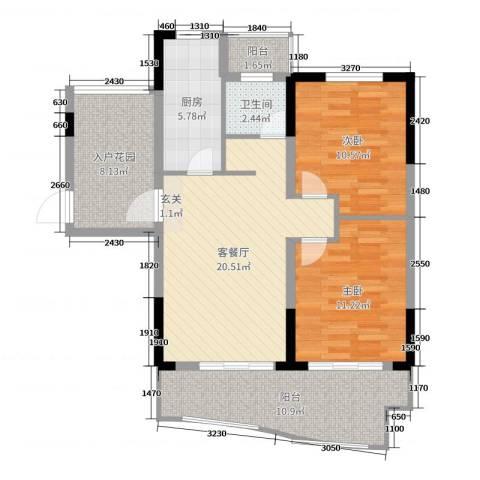天逸华府2室2厅1卫1厨89.00㎡户型图
