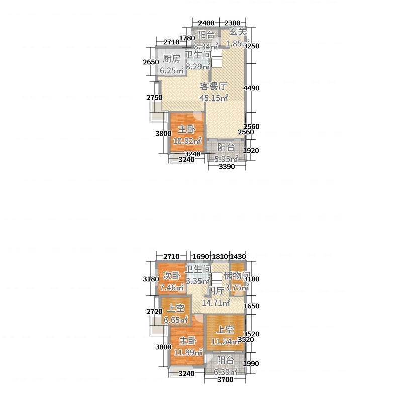 中信水岸城153.68㎡四期53/57栋顶层复式A1户型3室3厅2卫1厨