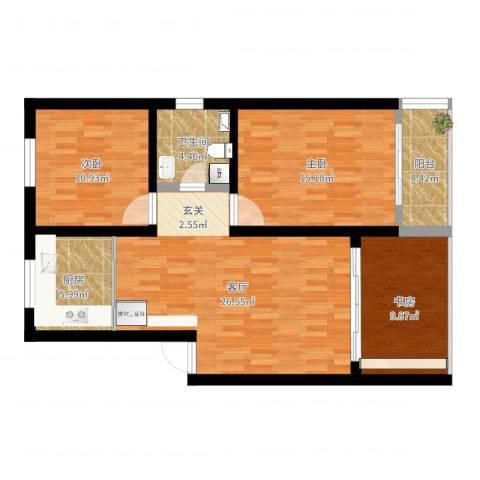 仙霞大郡3室1厅1卫1厨97.00㎡户型图