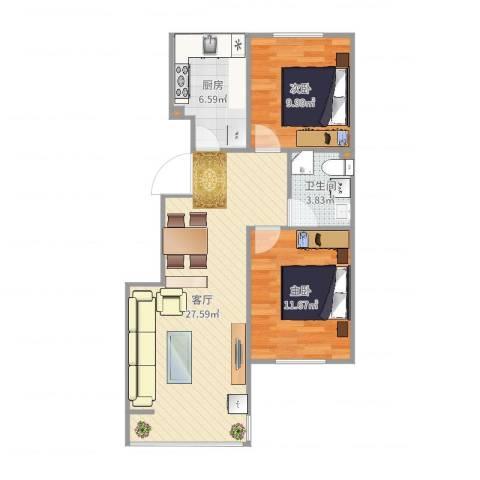 城市印象2室1厅1卫1厨75.00㎡户型图