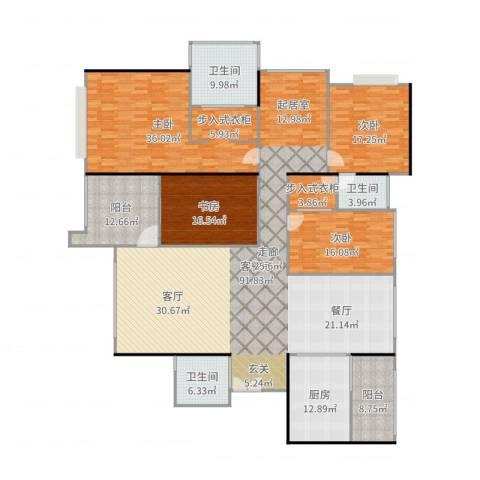 京基滨河时代大厦4室2厅3卫1厨295.00㎡户型图