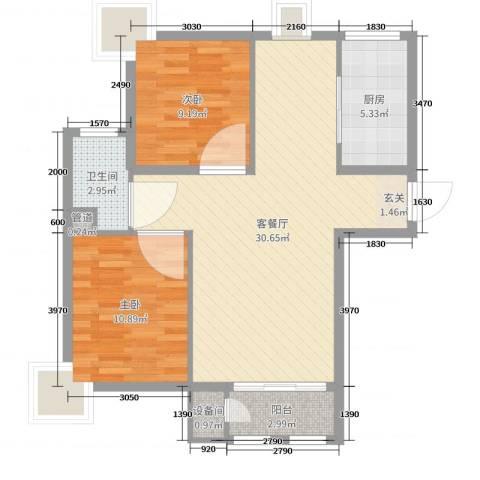 金海国际花园2室2厅1卫1厨79.00㎡户型图
