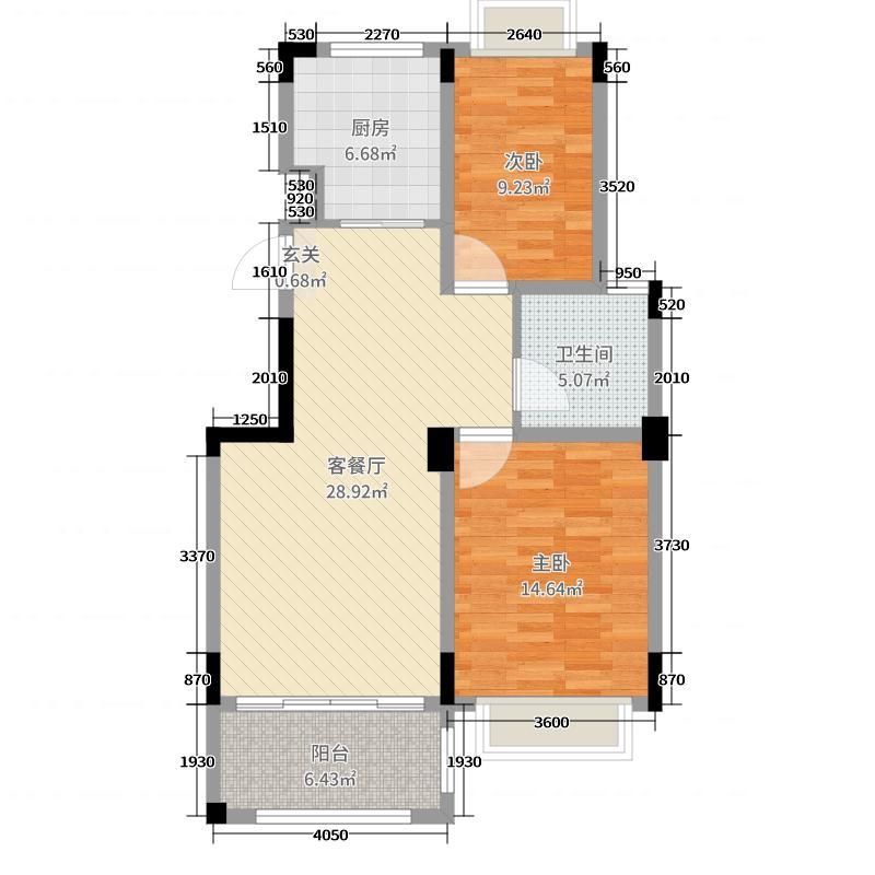 钻石铭苑88.70㎡二期高层H1F户型2室2厅1卫