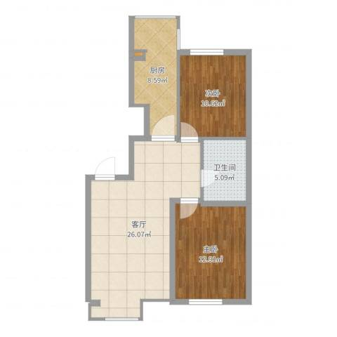 金色河畔2室1厅1卫1厨79.00㎡户型图