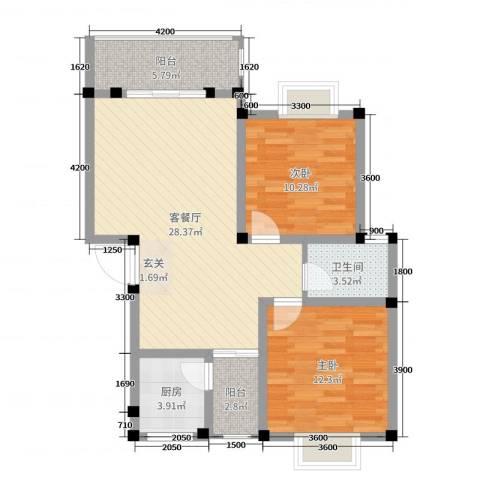 桂丰御景2室2厅1卫1厨81.00㎡户型图