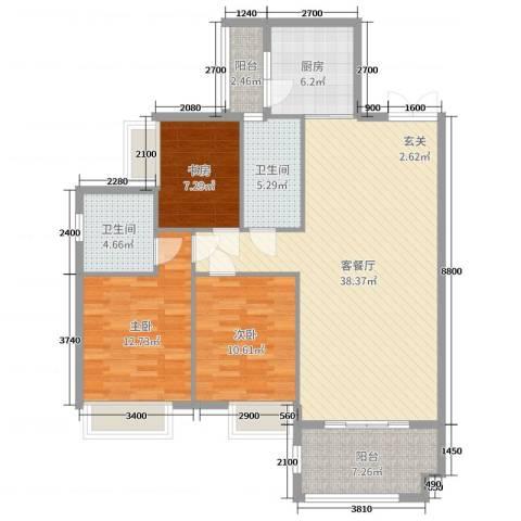锦江国际新城3室2厅2卫1厨118.00㎡户型图
