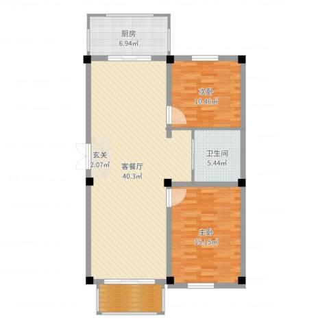 和美雅苑2室2厅1卫1厨103.00㎡户型图