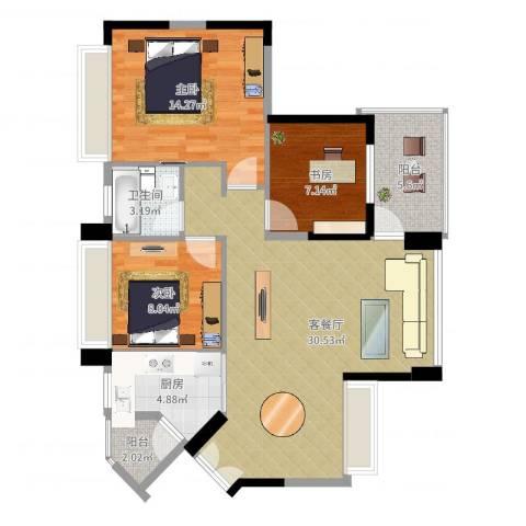 中惠金士柏山3室2厅1卫1厨106.00㎡户型图