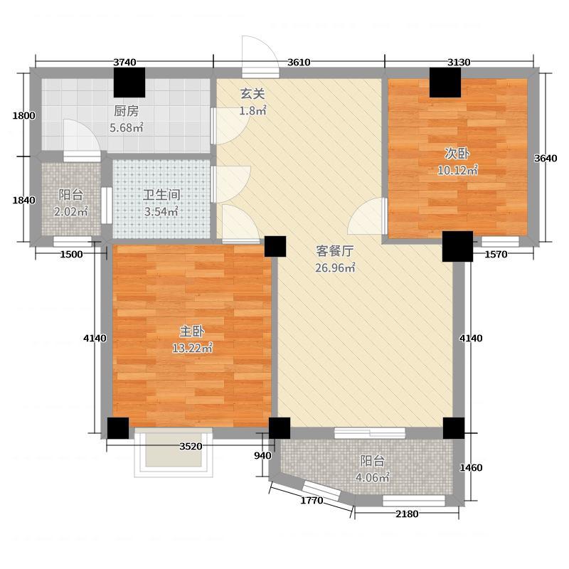 海城园林天下82.00㎡391011号楼户型2室2厅1卫1厨
