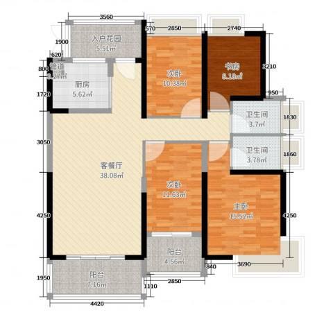 东山一品4室2厅2卫1厨143.00㎡户型图