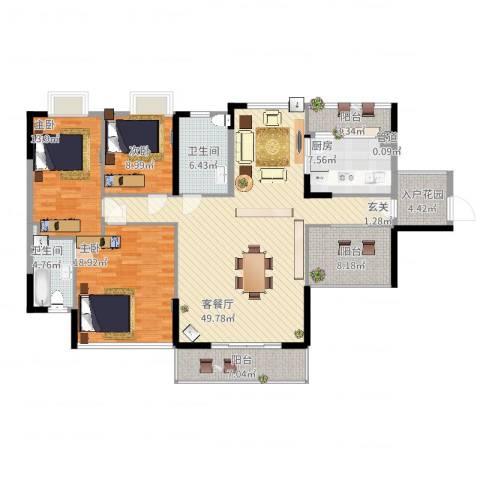 雍雅山庄(棕榈泉)3室2厅2卫1厨186.00㎡户型图