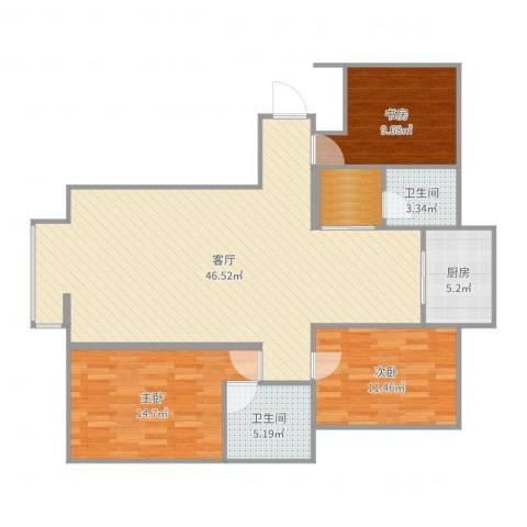 城南春天3室1厅2卫1厨124.00㎡户型图