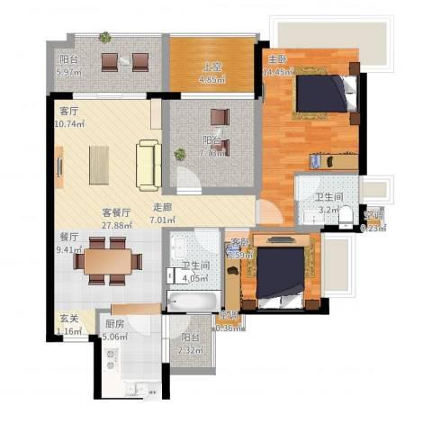 嘉信城市花园五期2室2厅2卫1厨121.00㎡户型图