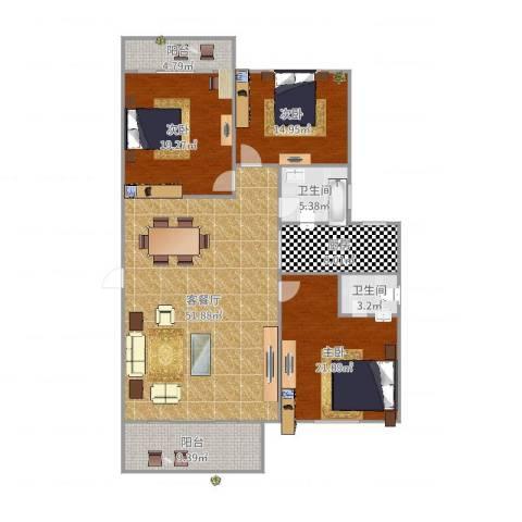 润泽园3室2厅2卫1厨172.00㎡户型图
