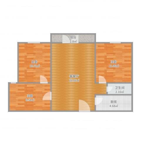大川世纪城3室2厅1卫1厨85.00㎡户型图