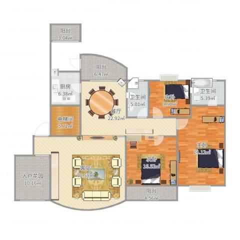 国贸春天3室2厅2卫1厨197.00㎡户型图