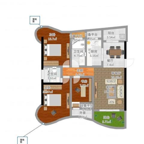 南昌铜锣湾广场3室2厅2卫1厨137.00㎡户型图