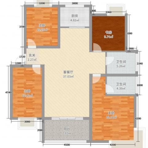 格林春天二期4室2厅2卫1厨135.00㎡户型图