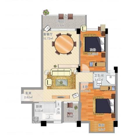 时尚国际2室2厅1卫1厨107.00㎡户型图