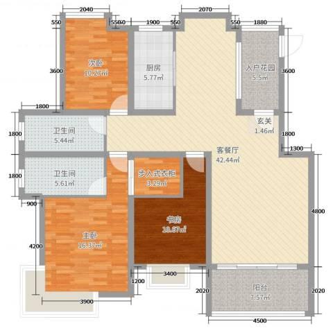 格林春天二期3室2厅2卫1厨141.00㎡户型图
