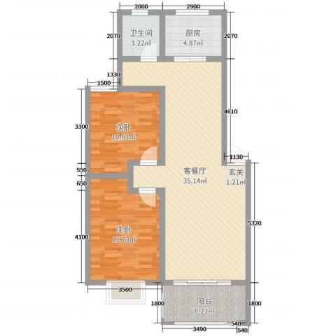 君尚一品・水云间2室2厅1卫1厨94.00㎡户型图