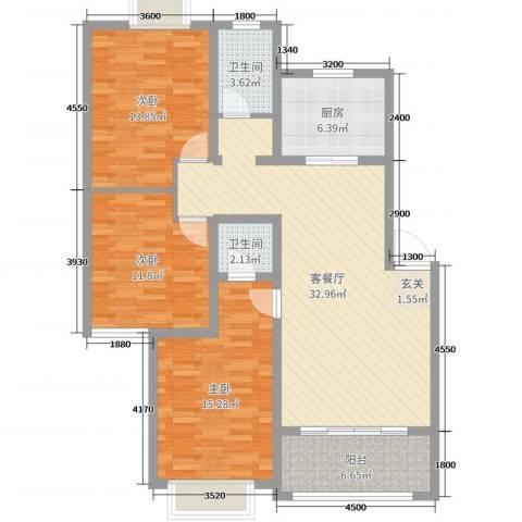 君尚一品・水云间3室2厅2卫1厨118.00㎡户型图