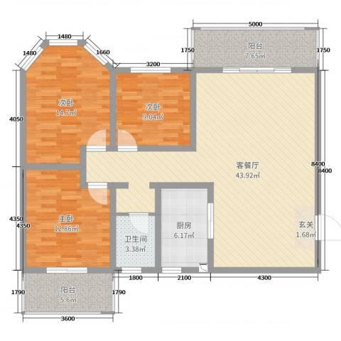 君尚一品・水云间3室2厅1卫1厨125.00㎡户型图
