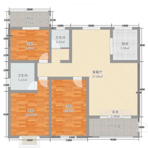 君尚一品・水云间3室2厅2卫1厨126.00㎡户型图