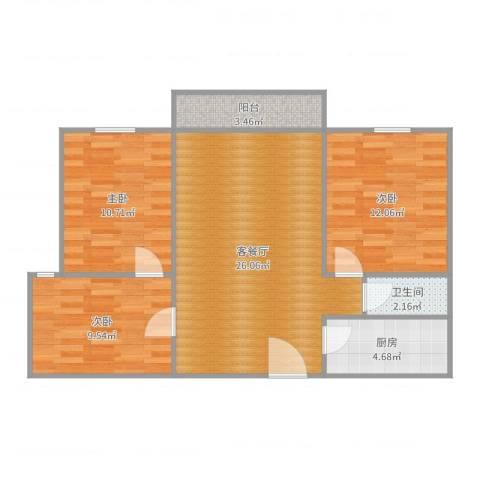 大川世纪城3室2厅1卫1厨86.00㎡户型图
