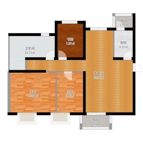 浩友凤凰城3室2厅1卫1厨113.00㎡户型图