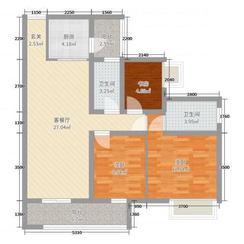 锦江国际新城3室2厅2卫1厨92.00㎡户型图