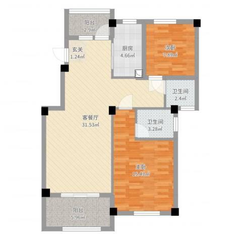 江南景苑2室2厅2卫1厨93.00㎡户型图