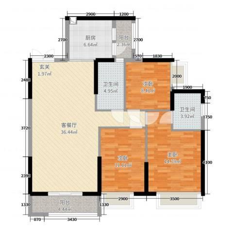 锦江国际新城3室2厅2卫1厨116.00㎡户型图