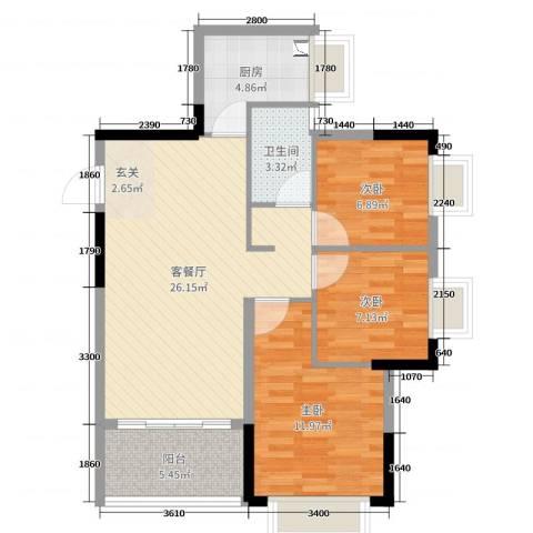 岭南世家・瑞府3室2厅1卫1厨88.00㎡户型图
