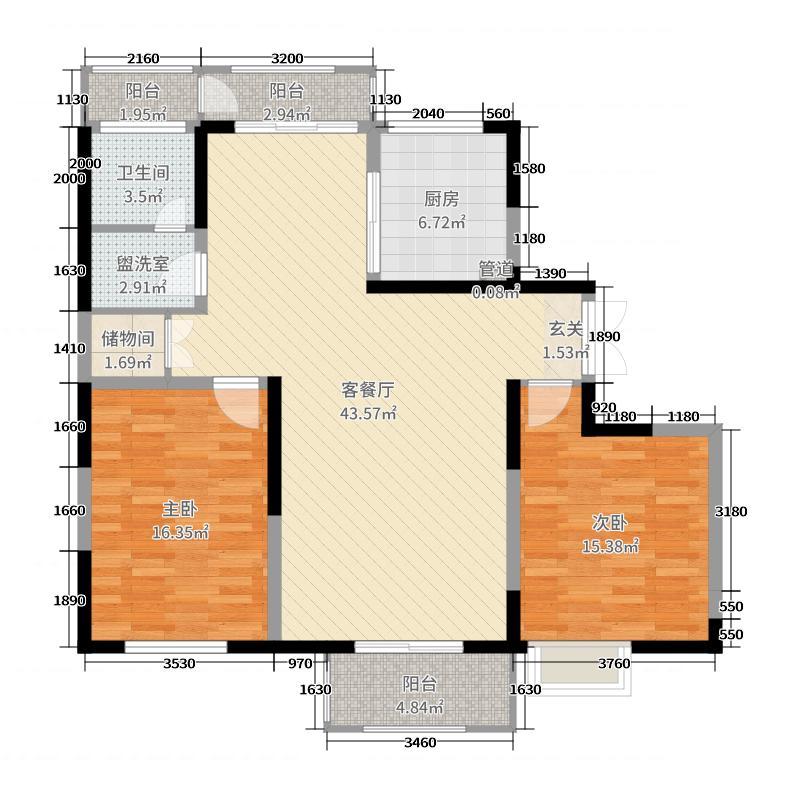 大上海御龙湾125.00㎡一期B户型2室2厅1卫1厨