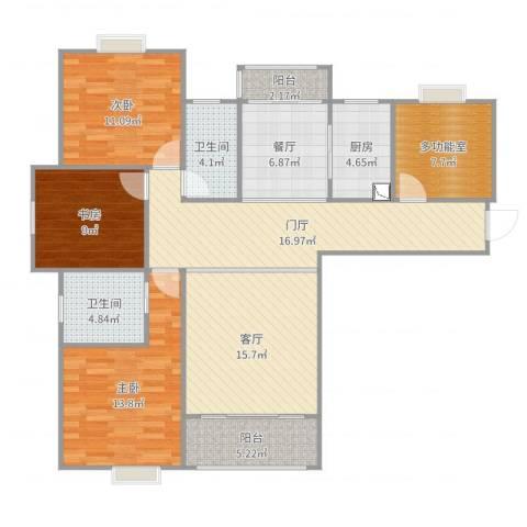 天行.御景庄园3期A13室2厅2卫1厨130.00㎡户型图