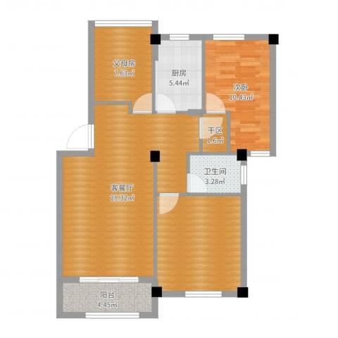 江南景苑1室2厅1卫1厨93.00㎡户型图