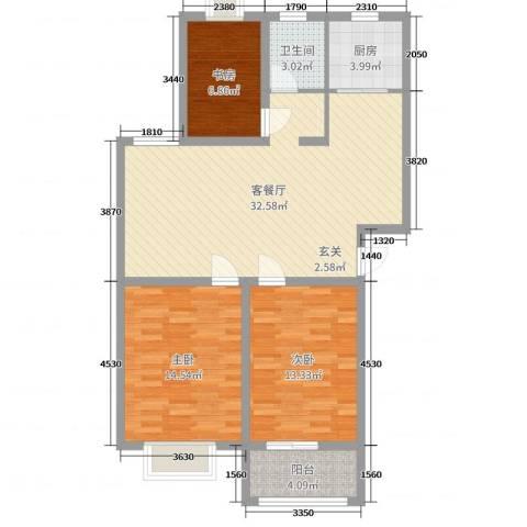奥林晴园3室2厅1卫1厨78.40㎡户型图